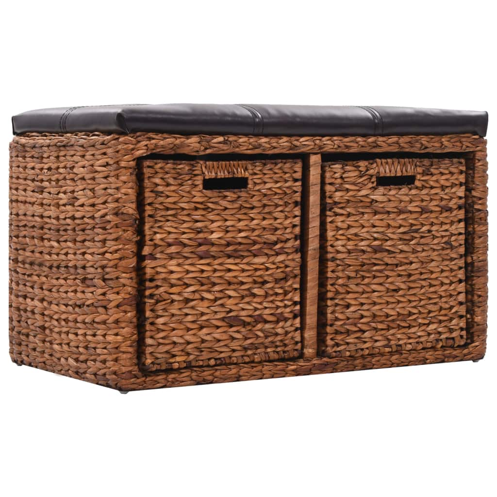 Bench with 2 Baskets Seagrass 71x40x42 cm Brown 4