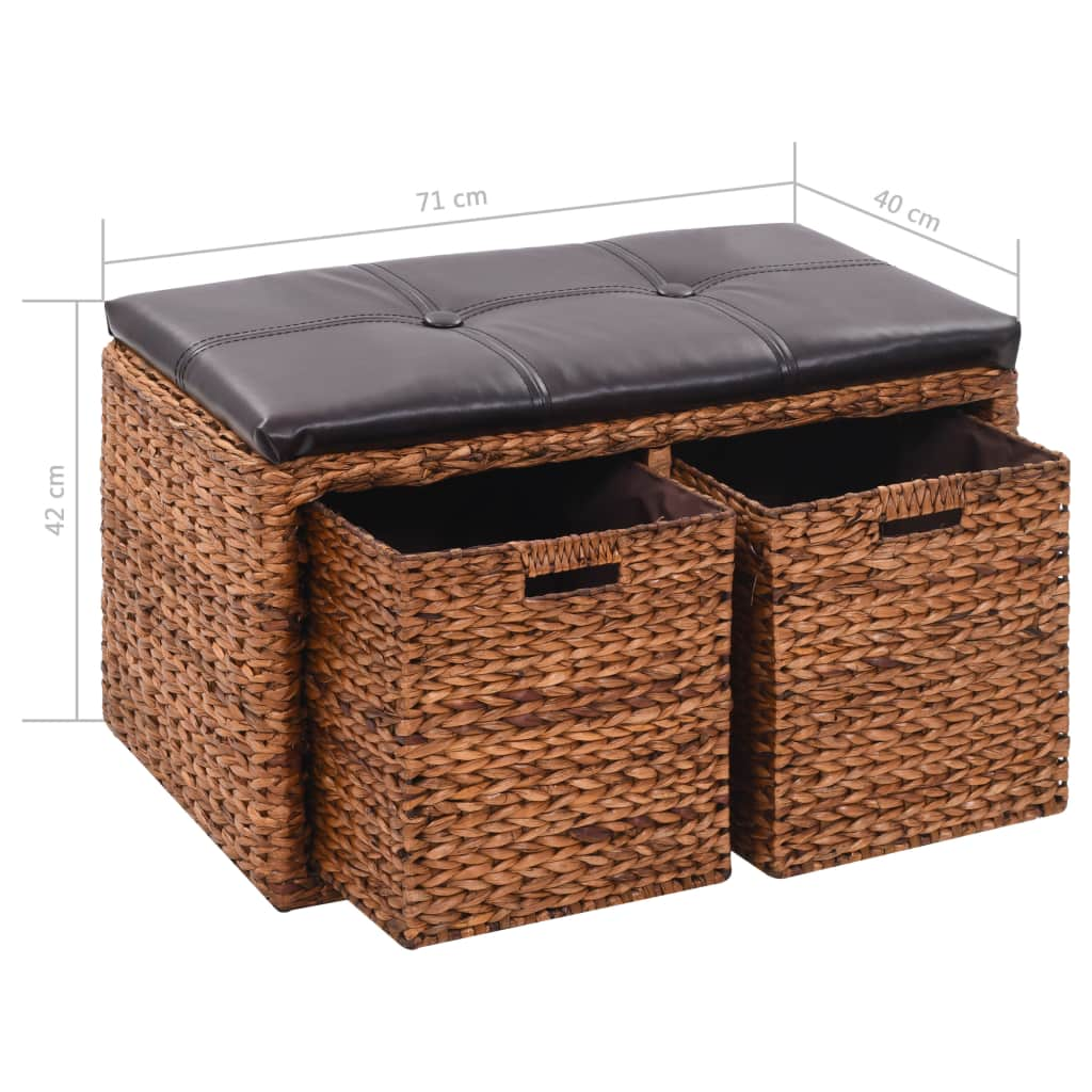 Bench with 2 Baskets Seagrass 71x40x42 cm Brown 9