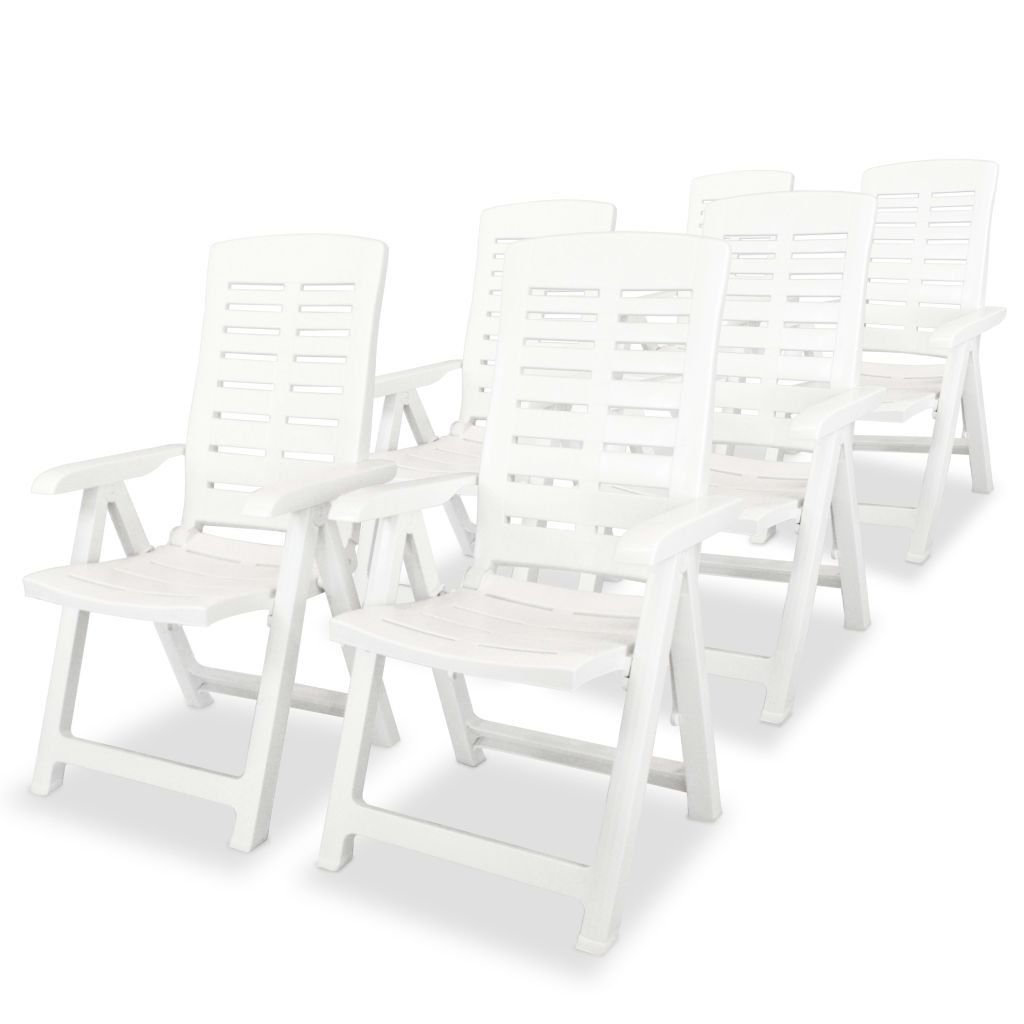Reclining Garden Chairs 6 pcs Plastic White 1
