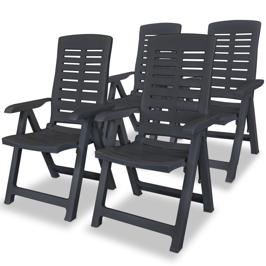 Reclining Garden Chairs 4 pcs Plastic Anthracite 1