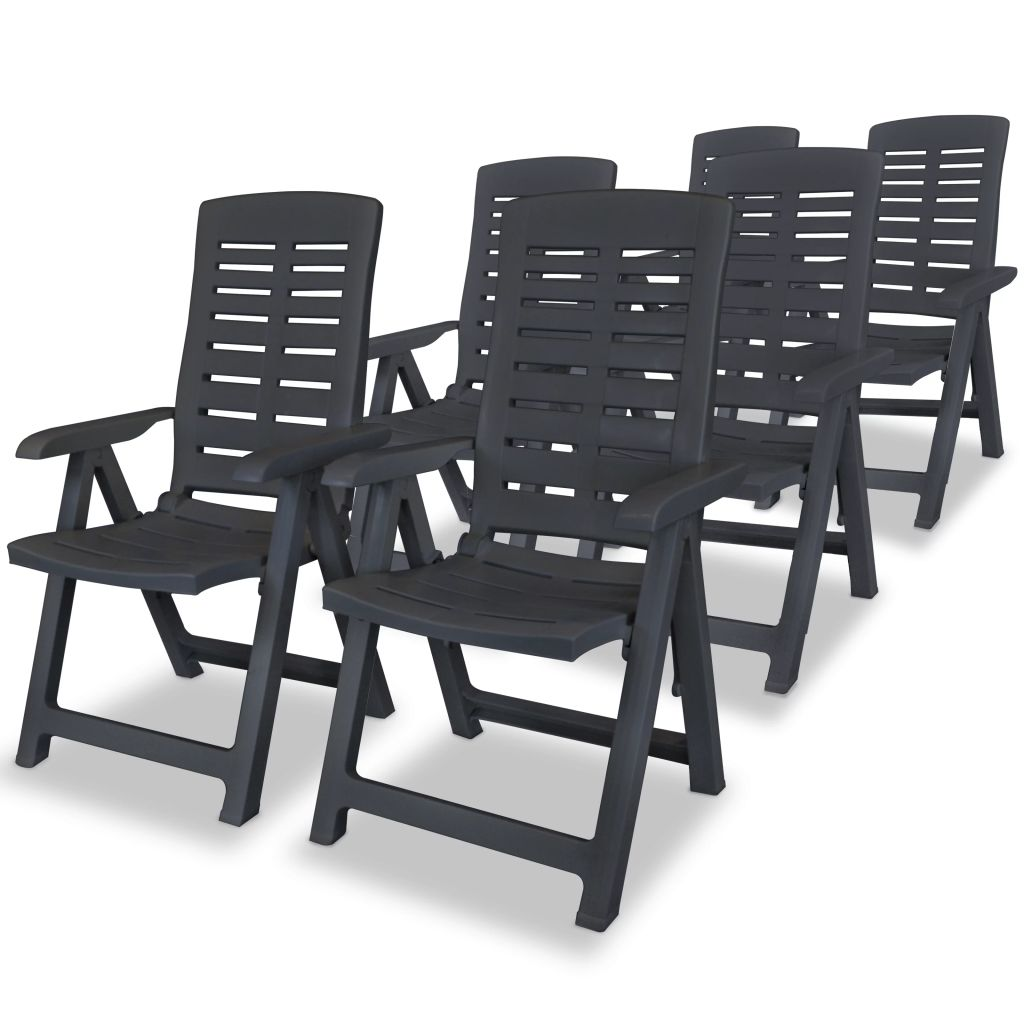 Reclining Garden Chairs 6 pcs Plastic Anthracite 1