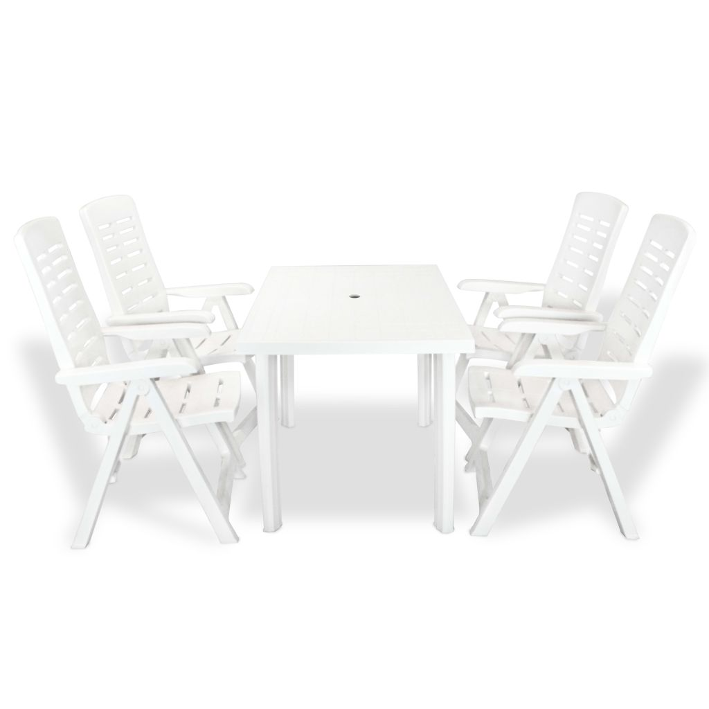 5 Piece Outdoor Dining Set Plastic White 1