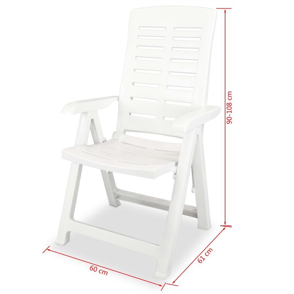 5 Piece Outdoor Dining Set Plastic White 11