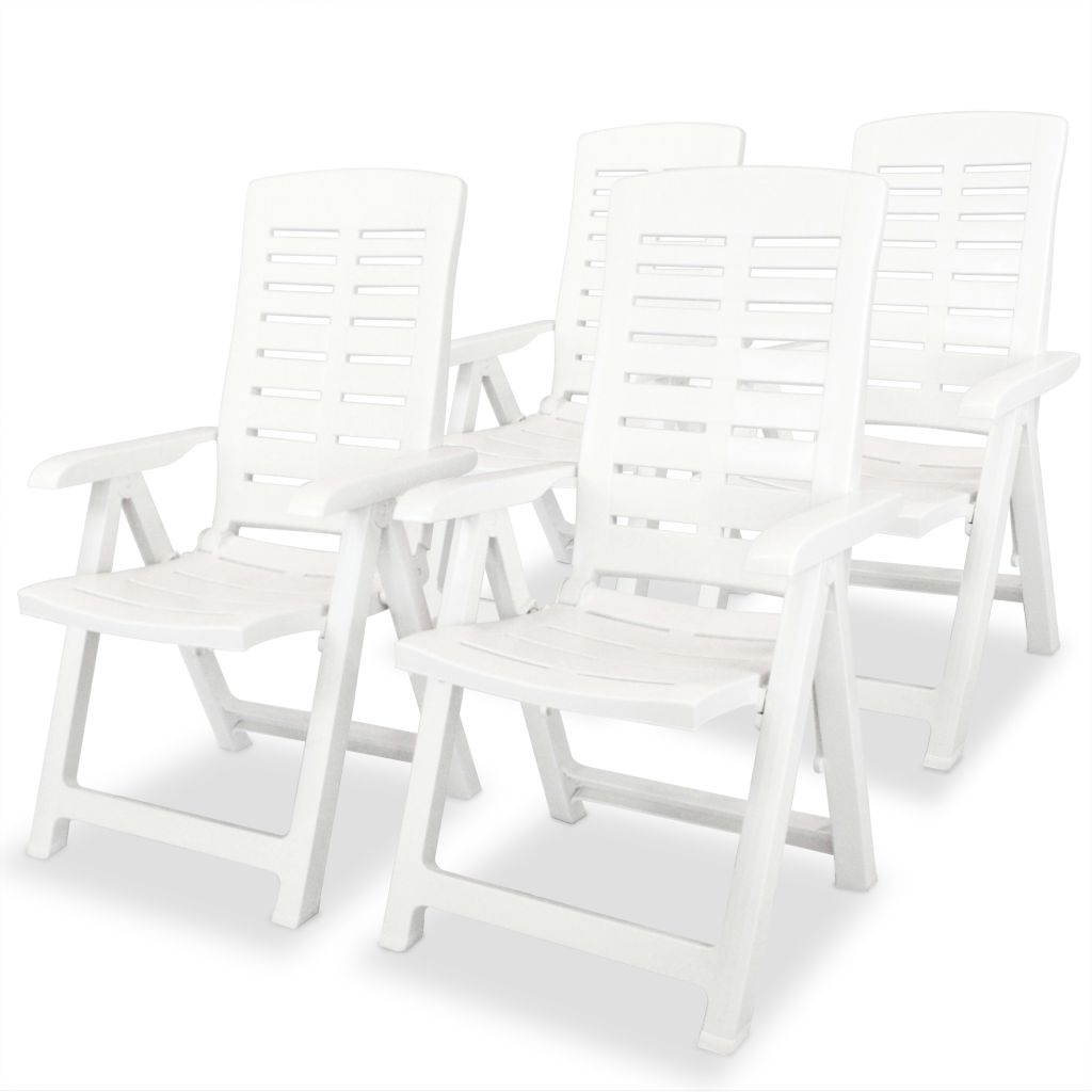 5 Piece Outdoor Dining Set Plastic White 4
