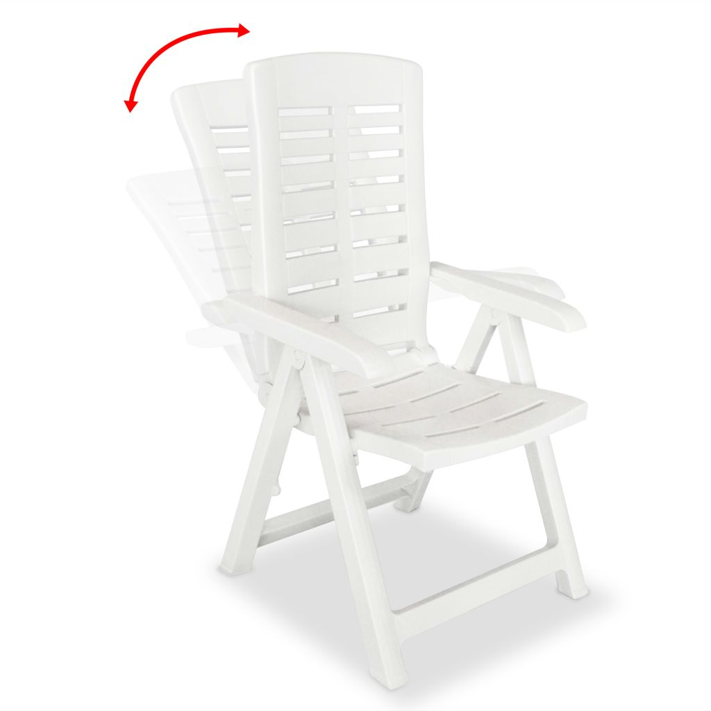 5 Piece Outdoor Dining Set Plastic White 5