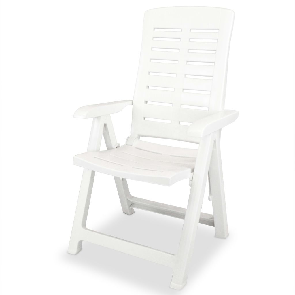 5 Piece Outdoor Dining Set Plastic White 6