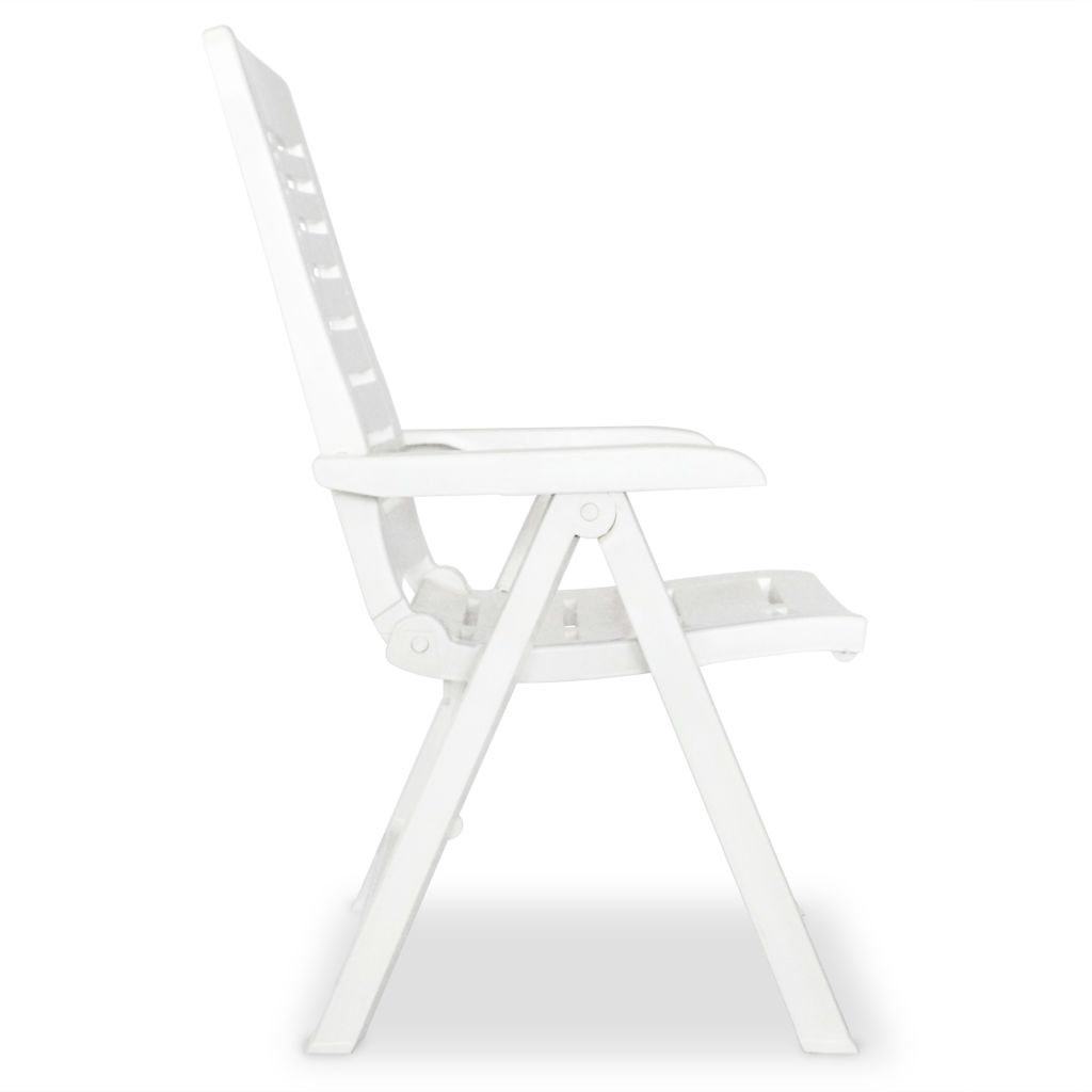 5 Piece Outdoor Dining Set Plastic White 7