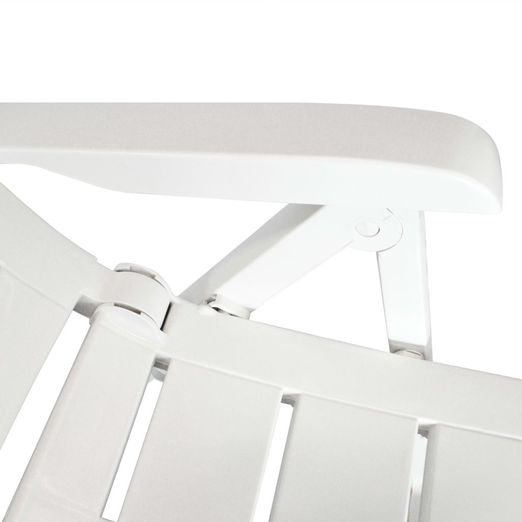 5 Piece Outdoor Dining Set Plastic White 9
