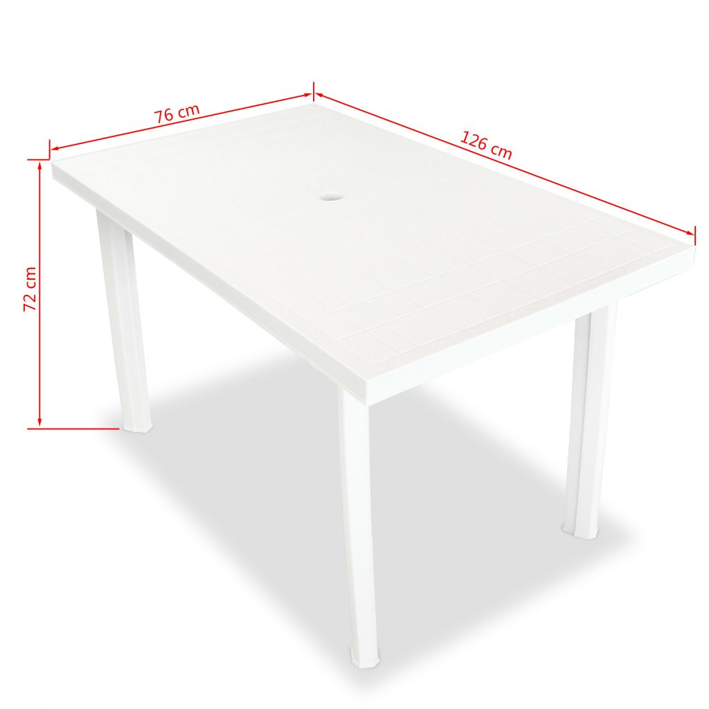 5 Piece Outdoor Dining Set Plastic White 10