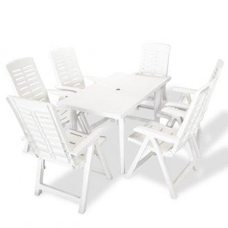 7 Piece Outdoor Dining Set Plastic White 1