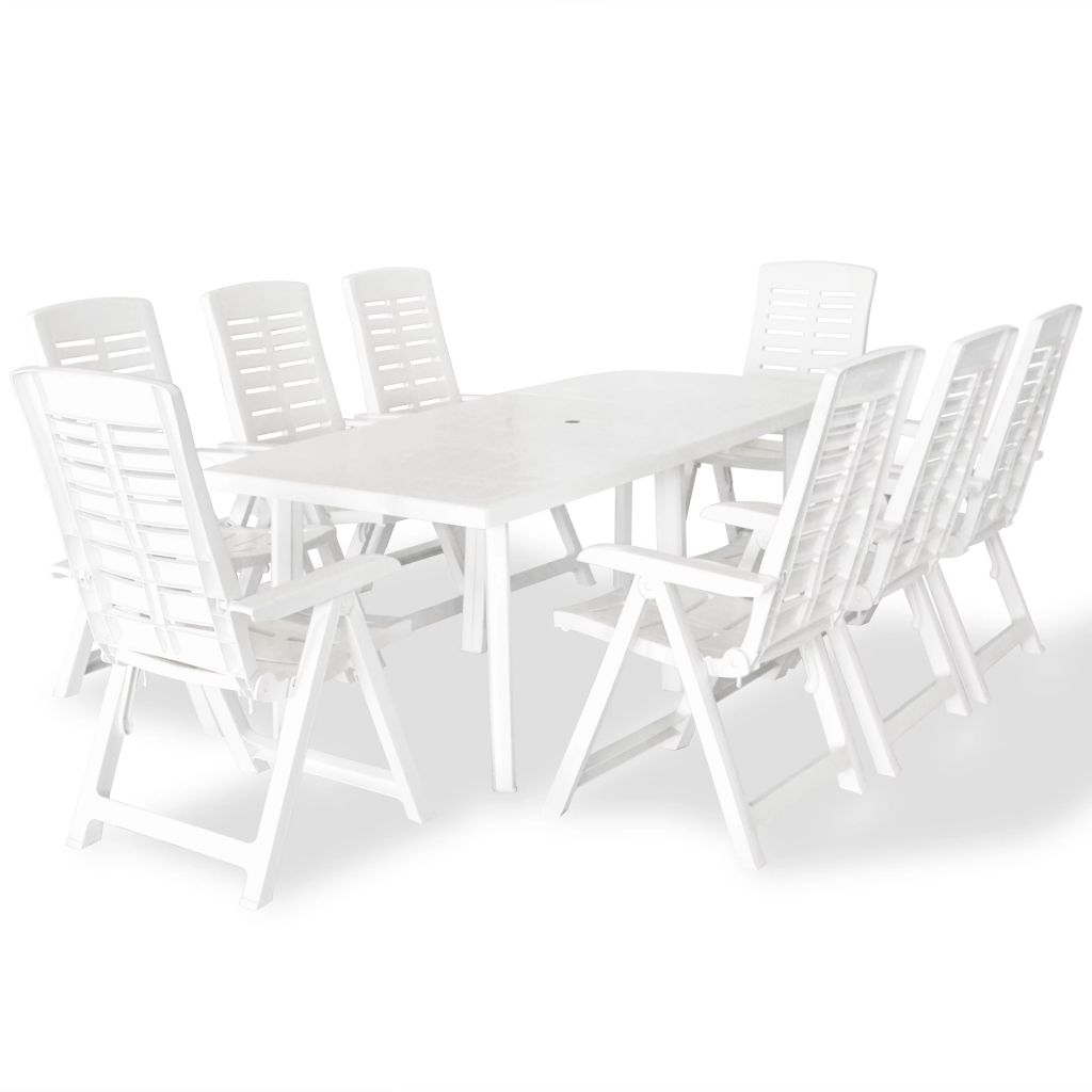 9 Piece Outdoor Dining Set Plastic White 1