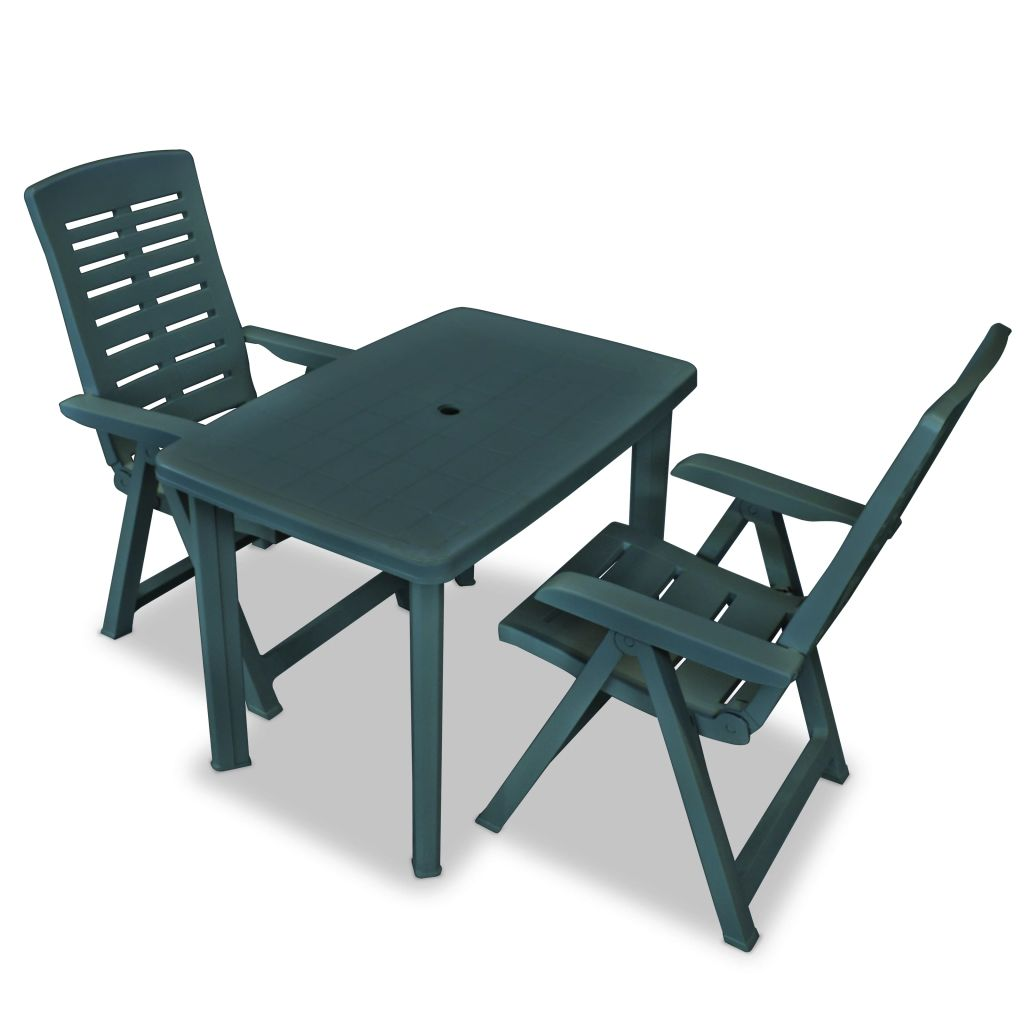 3 Piece Bistro Set Plastic Green
