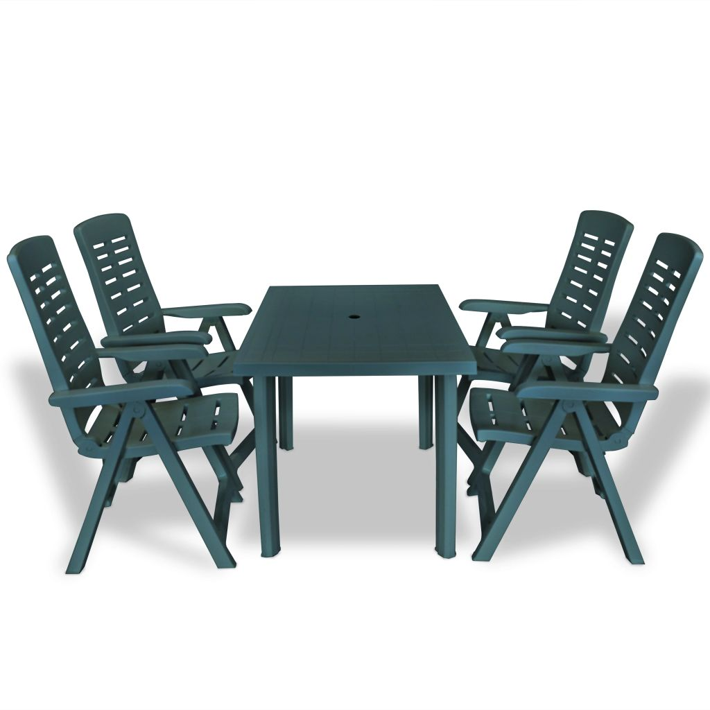 5 Piece Outdoor Dining Set Plastic Green