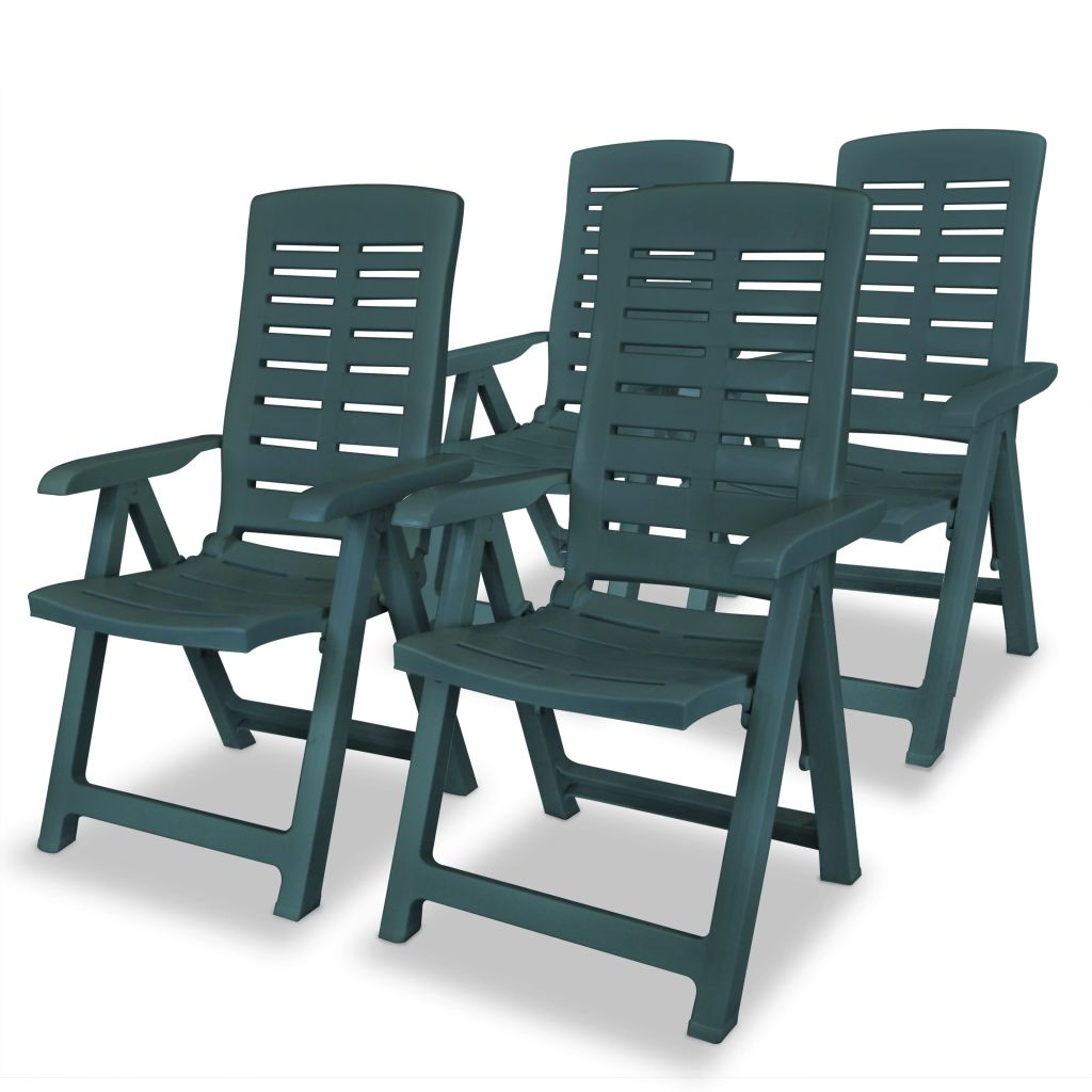 5 Piece Outdoor Dining Set Plastic Green 4