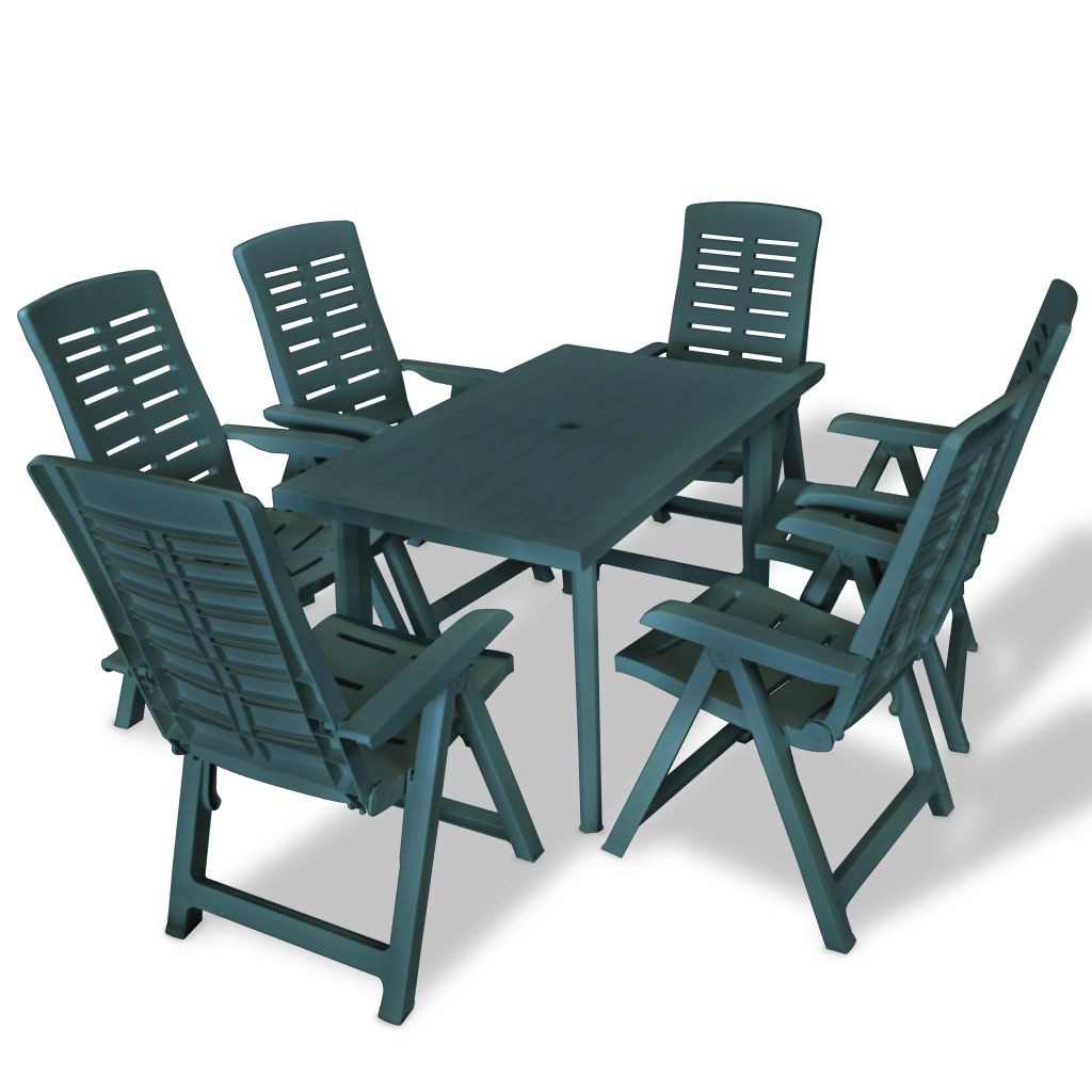 7 Piece Outdoor Dining Set Plastic Green