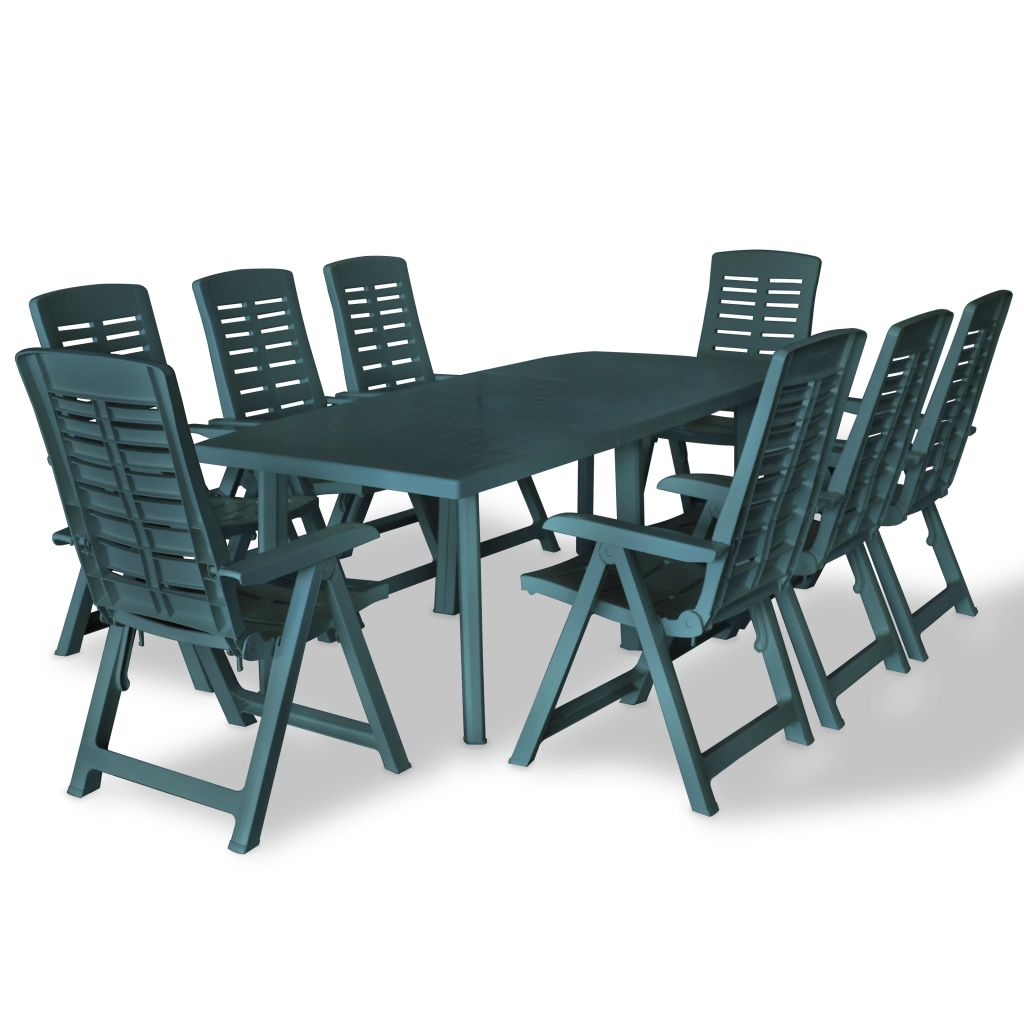 9 Piece Outdoor Dining Set Plastic Green 1