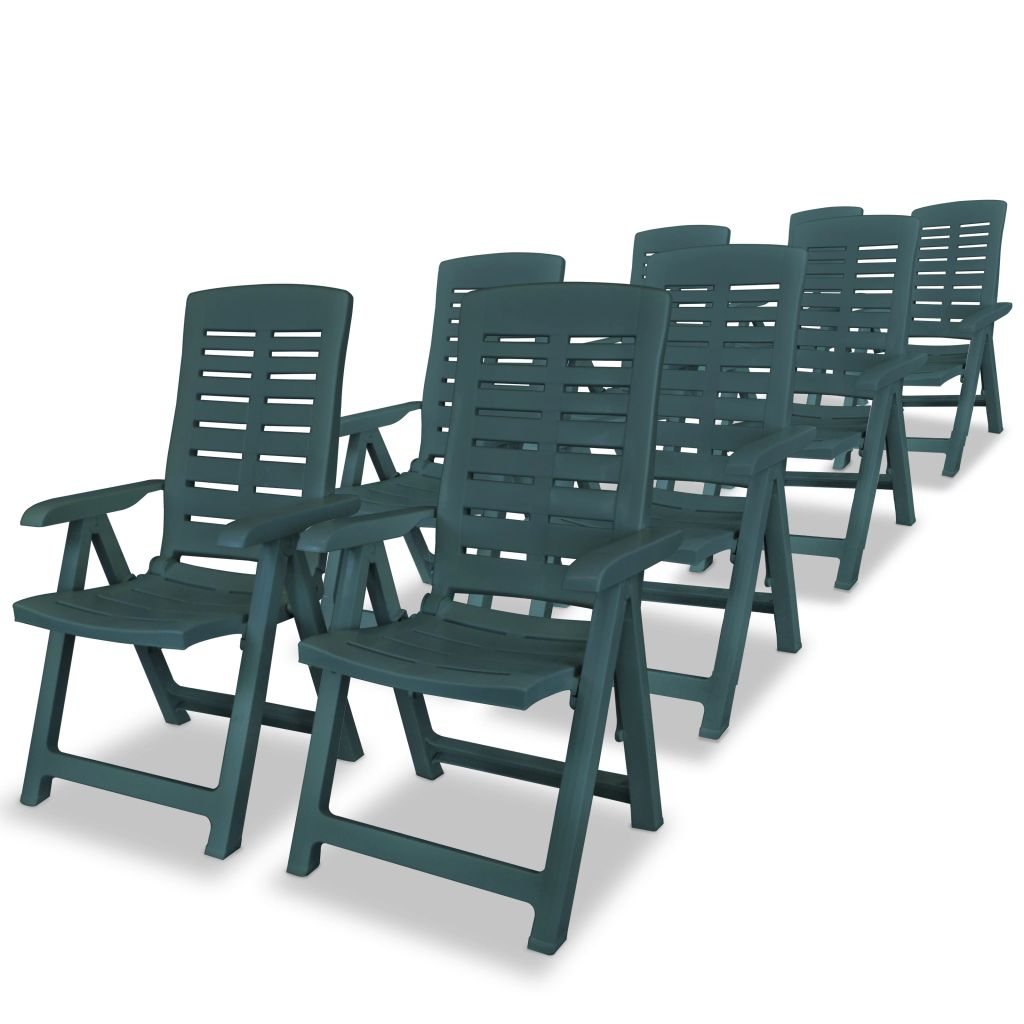 9 Piece Outdoor Dining Set Plastic Green 4