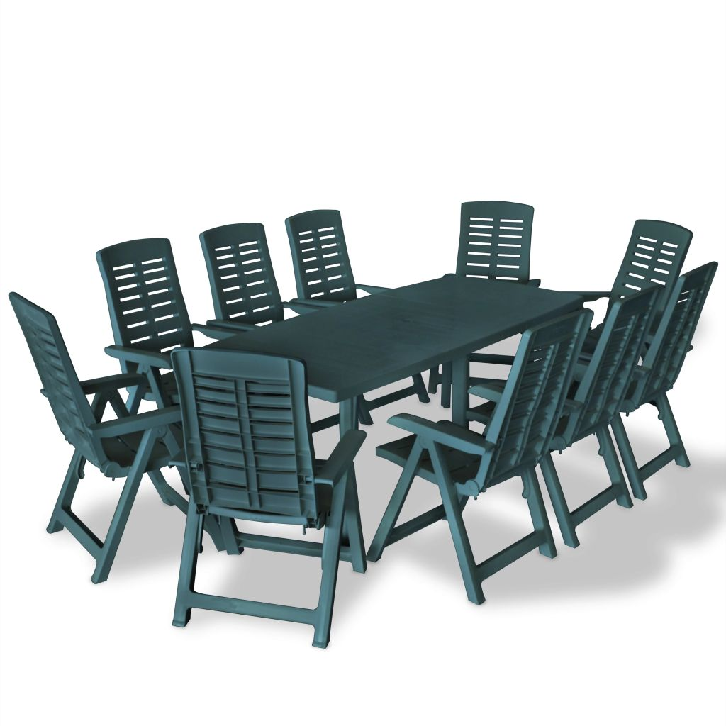11 Piece Outdoor Dining Set Plastic Green