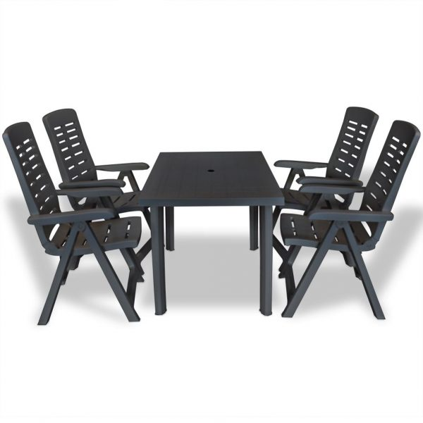 5 Piece Outdoor Dining Set Plastic Anthracite 1