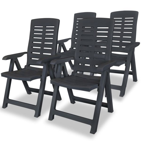 5 Piece Outdoor Dining Set Plastic Anthracite 4