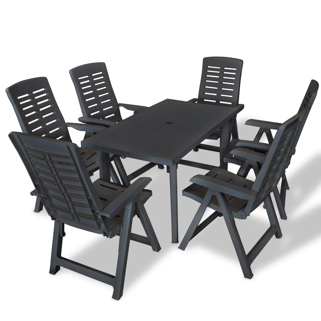 7 Piece Outdoor Dining Set Plastic Anthracite