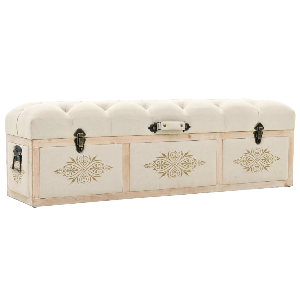Storage Bench Solid Wood and Fabric 120x32x38 cm 1