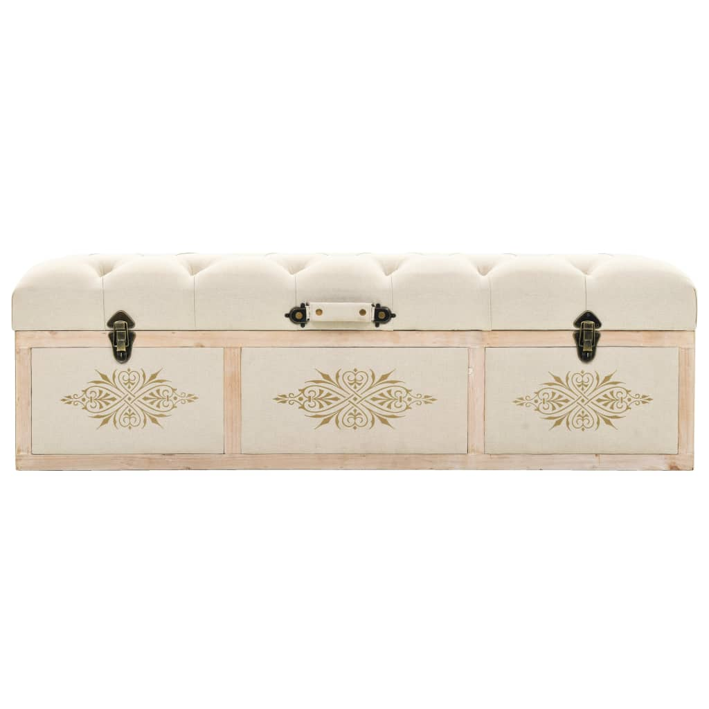 Storage Bench Solid Wood and Fabric 120x32x38 cm 4