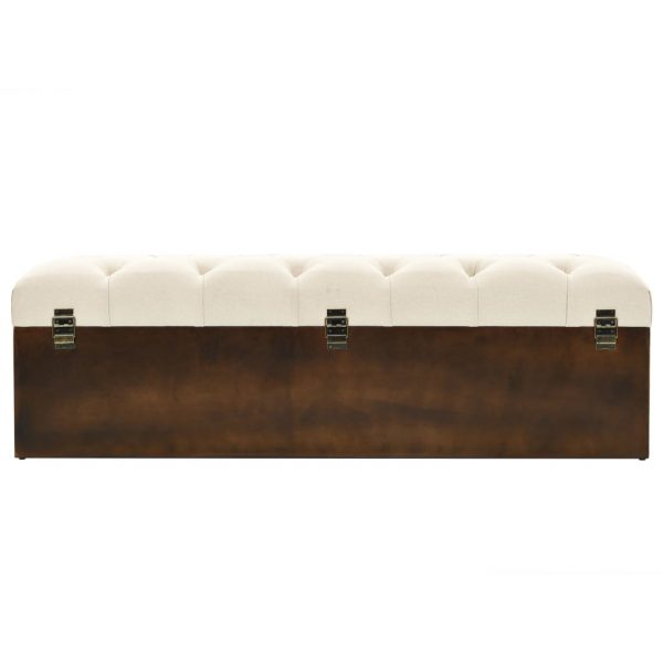 Storage Bench Solid Wood and Fabric 120x32x38 cm 5