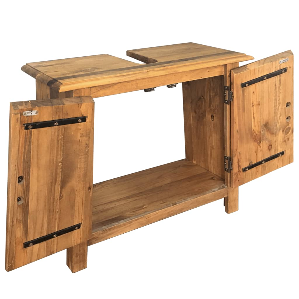 Bathroom Furniture Set Recycled Solid Recycled Pinewood 6