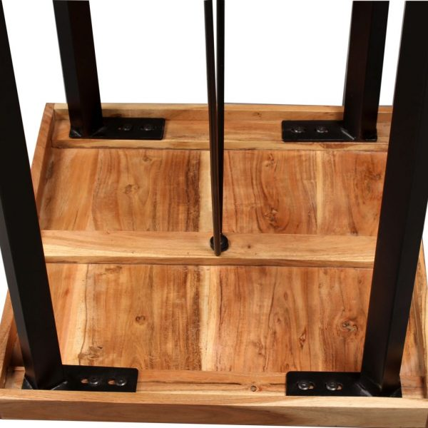 3 Piece Bar Set Solid Sheesham Wood and Genuine Leather 8