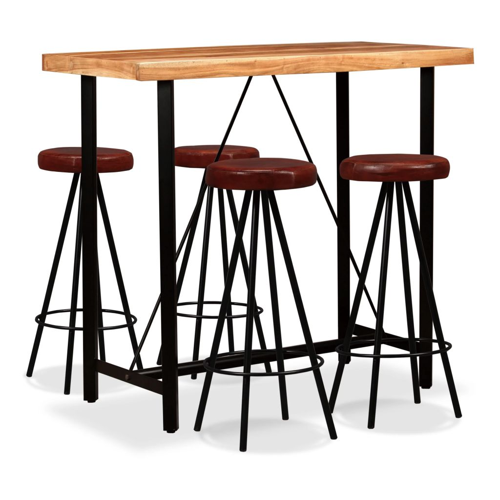 5 Piece Bar Set Solid Sheesham Wood and Genuine Leather 1