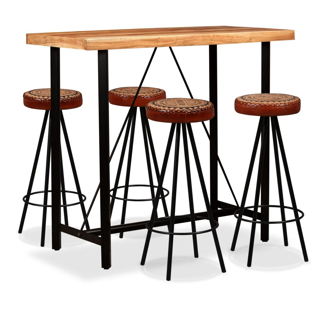 5 Piece Bar Set Solid Sheesham Wood, Genuine Leather & Canvas