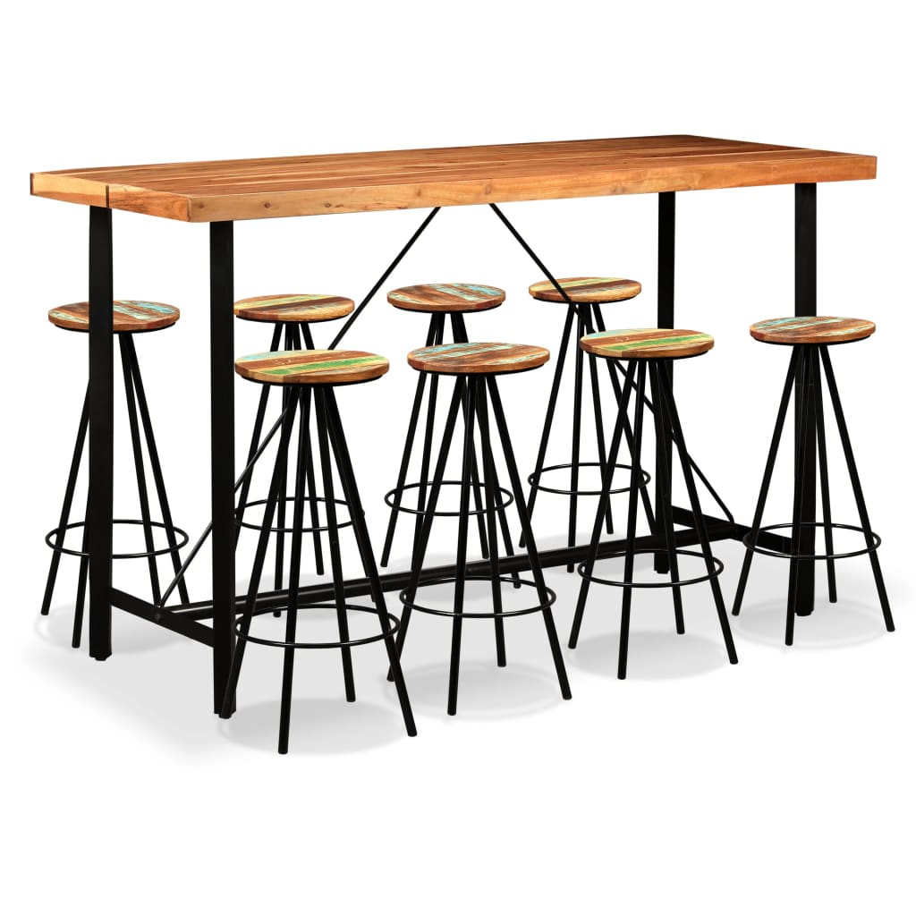 9 Piece Bar Set Solid Sheesham and Reclaimed Wood 1