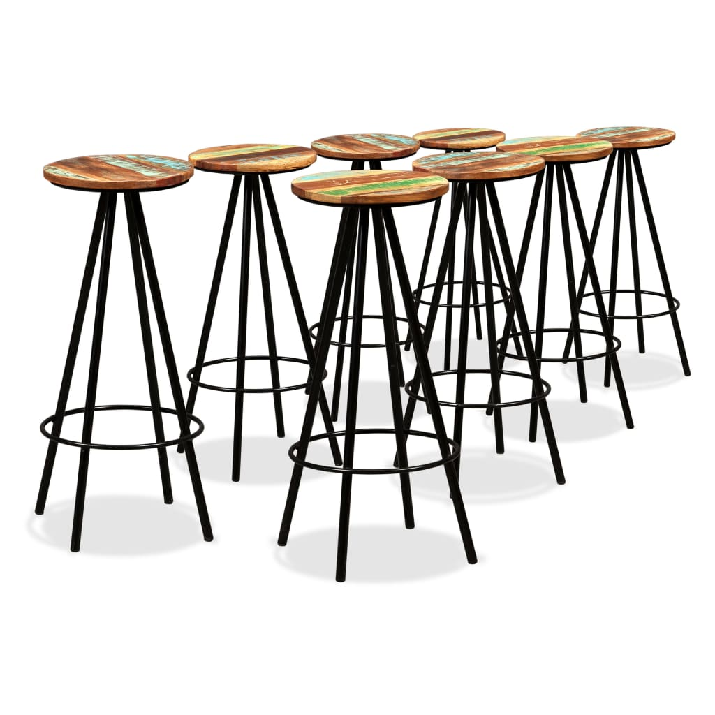 9 Piece Bar Set Solid Sheesham and Reclaimed Wood 8