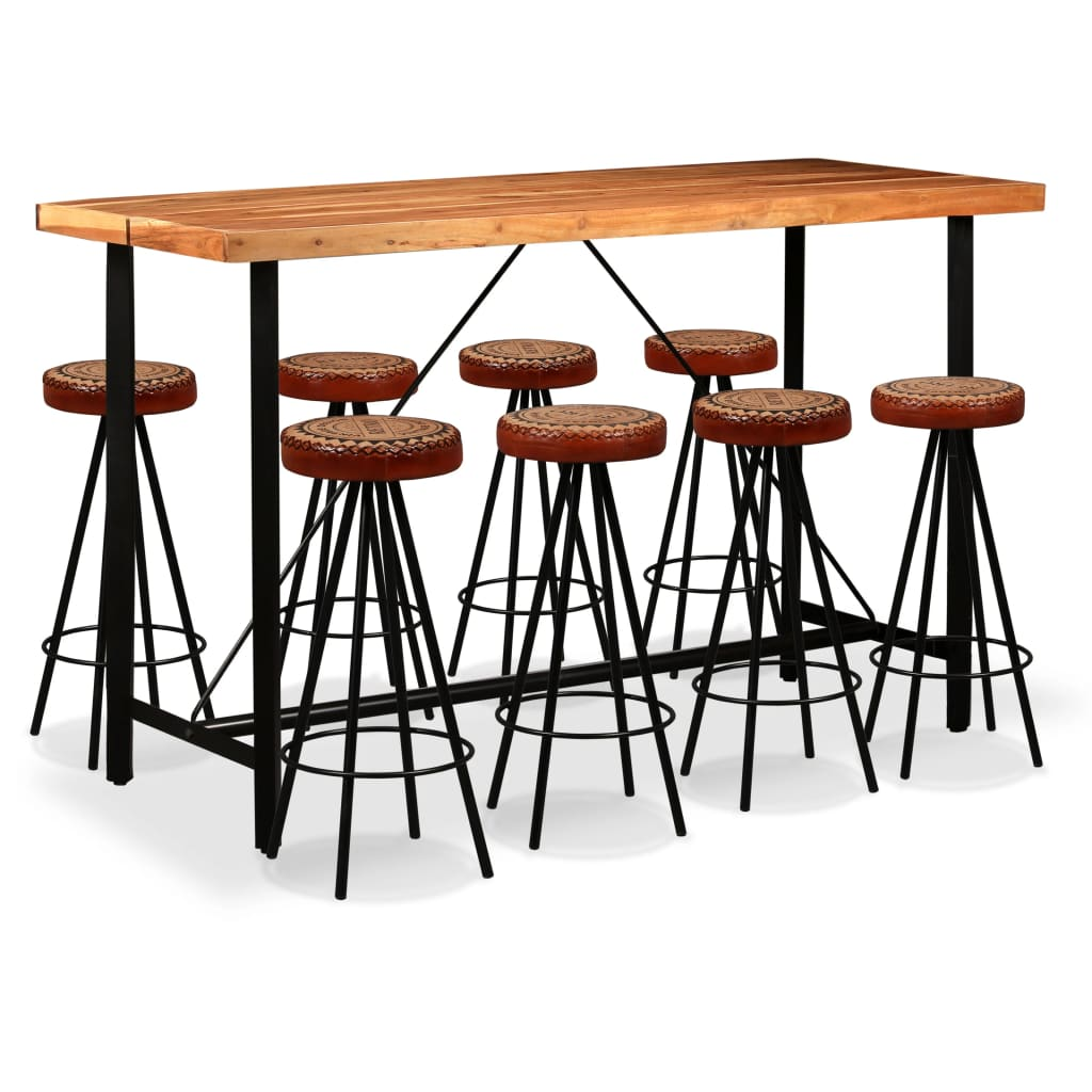 9 Piece Bar Set Solid Sheesham Wood, Genuine Leather & Canvas 1