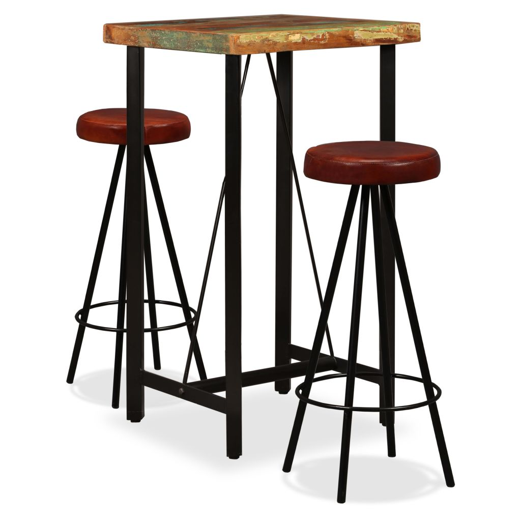3 Piece Bar Set Solid Reclaimed Wood and Genuine Leather 1