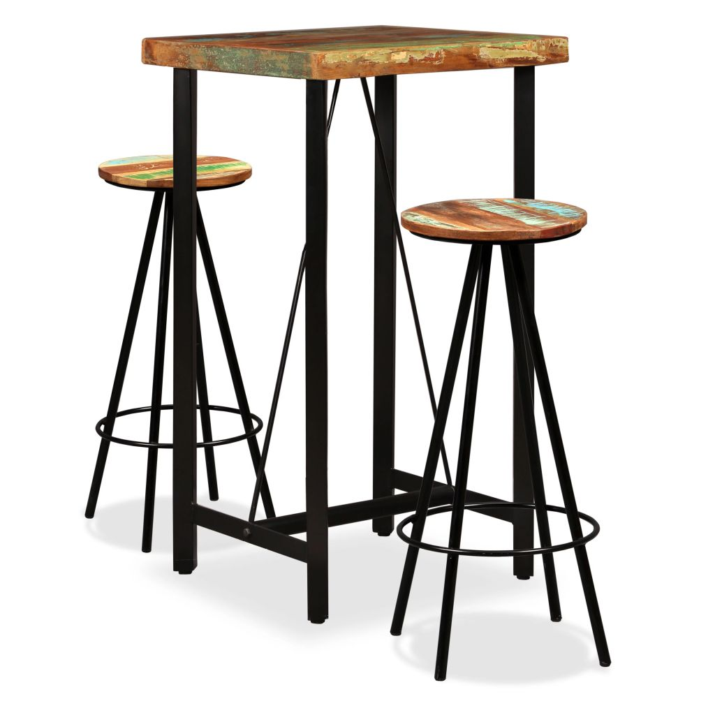 3 Piece Bar Set Solid Reclaimed Wood