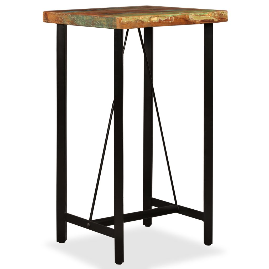 3 Piece Bar Set Solid Reclaimed Wood, Genuine Leather & Canvas 2