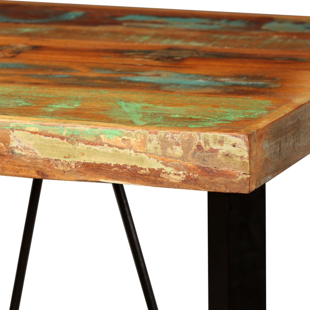 3 Piece Bar Set Solid Reclaimed Wood, Genuine Leather & Canvas 5