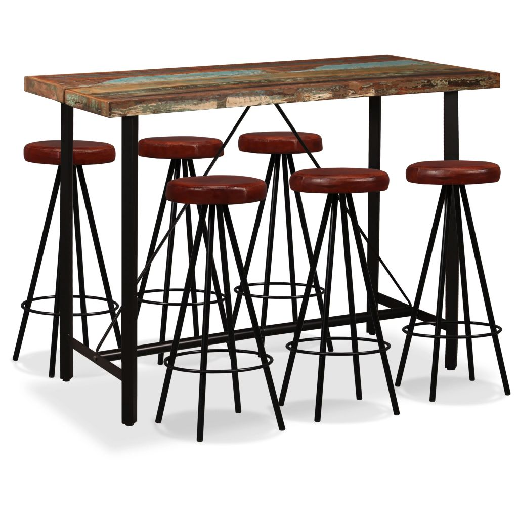 7 Piece Bar Set Solid Reclaimed Wood and Genuine Leather 1