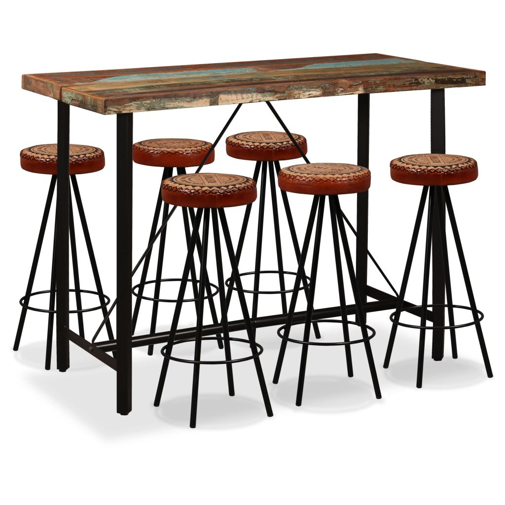 7 Piece Bar Set Solid Reclaimed Wood, Genuine Leather & Canvas 1