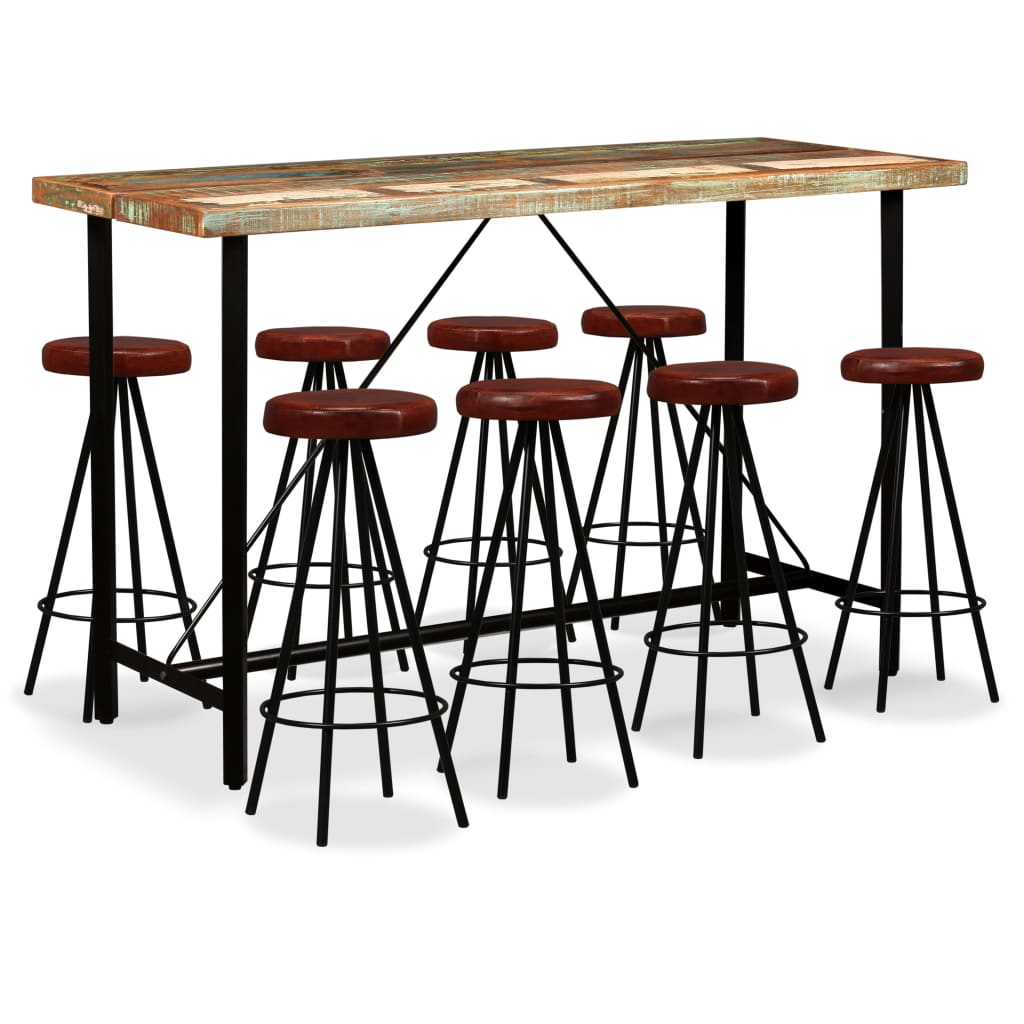 9 Piece Bar Set Solid Reclaimed Wood and Genuine Leather