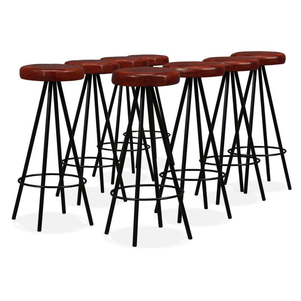 9 Piece Bar Set Solid Reclaimed Wood and Genuine Leather 2