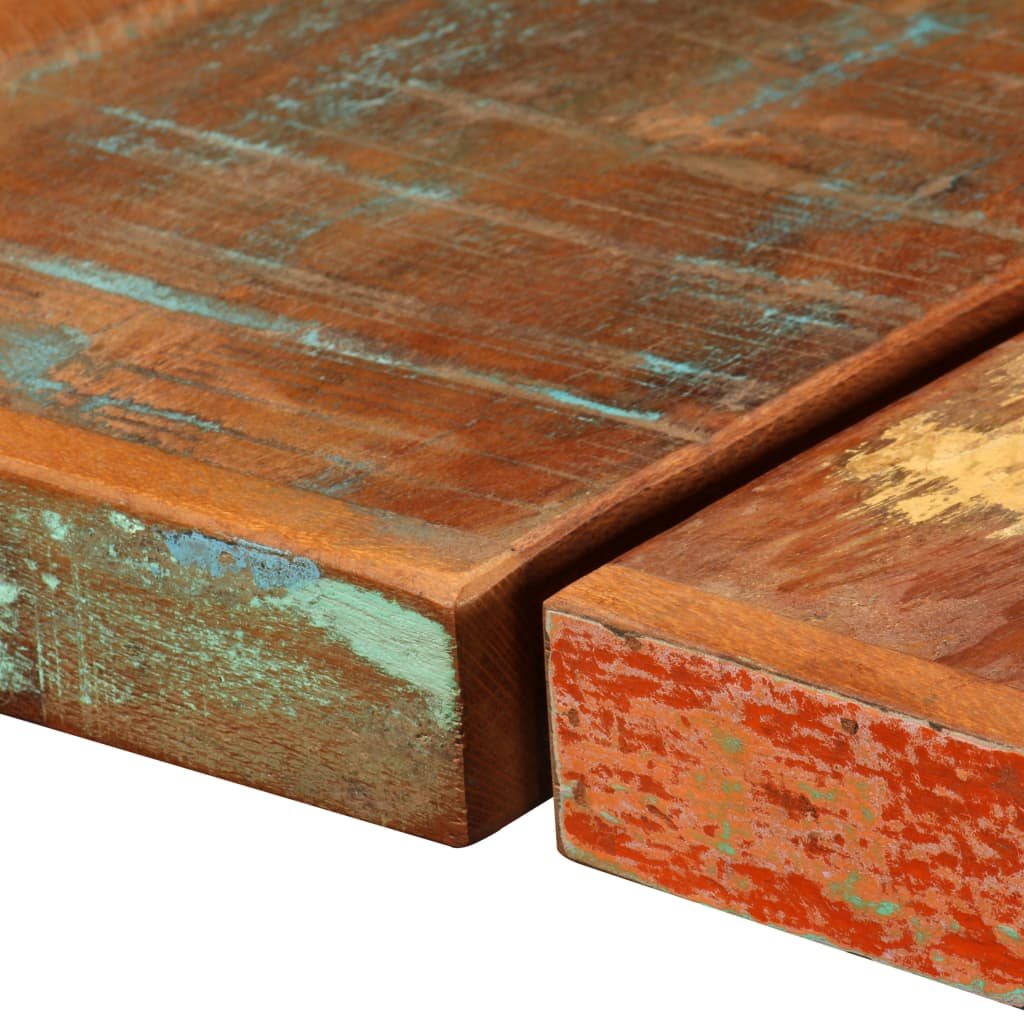 9 Piece Bar Set Solid Reclaimed Wood and Genuine Leather 6