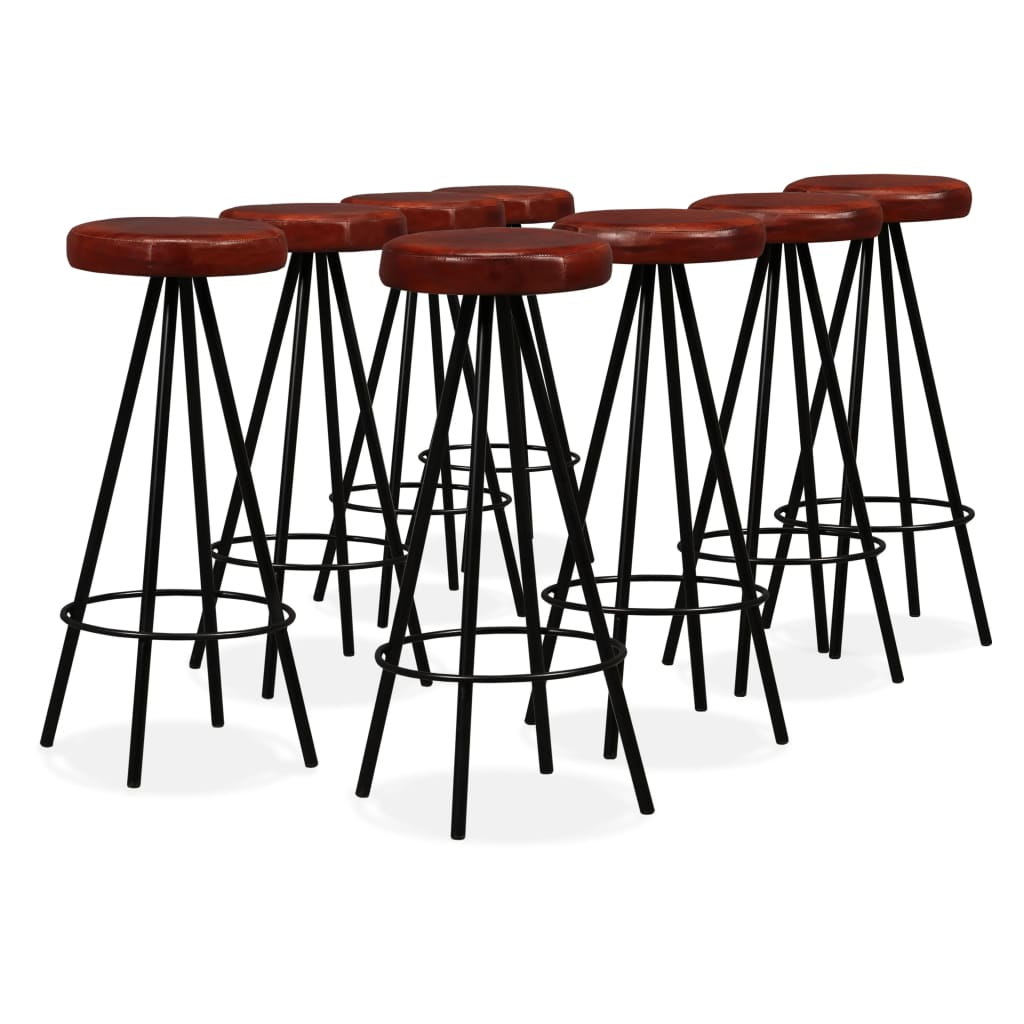 9 Piece Bar Set Solid Reclaimed Wood and Genuine Leather 10