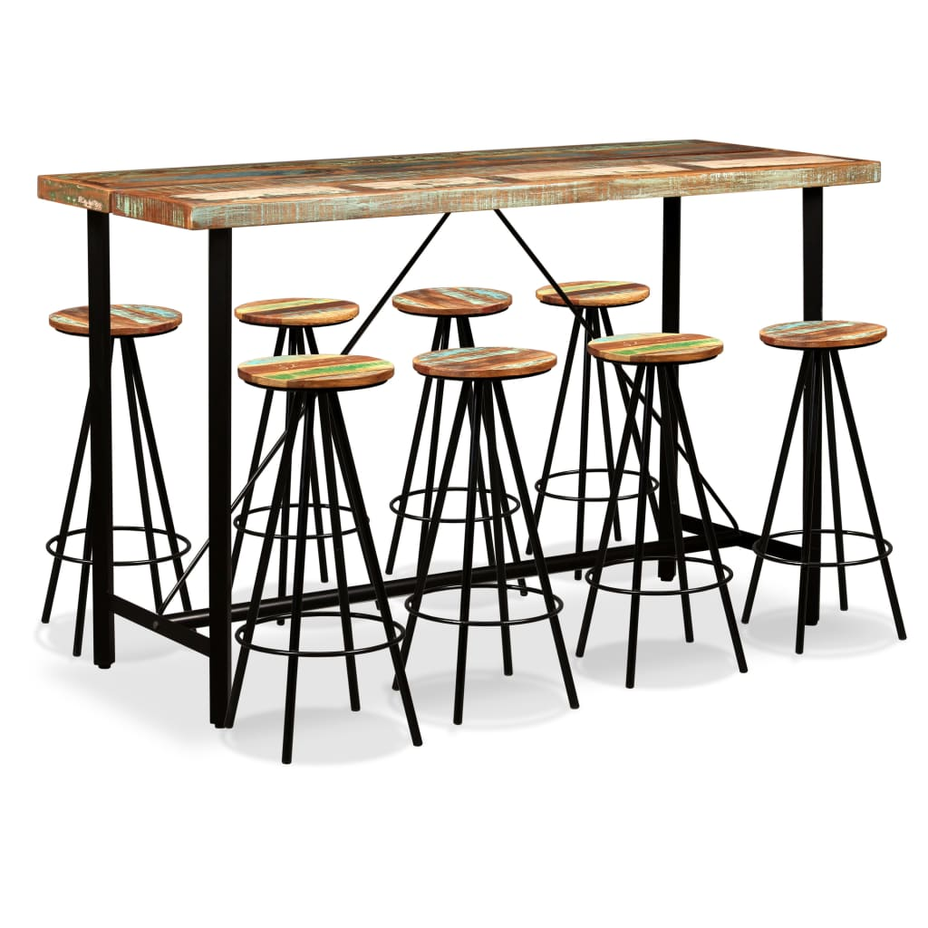 9 Piece  Bar Set Solid Reclaimed Wood