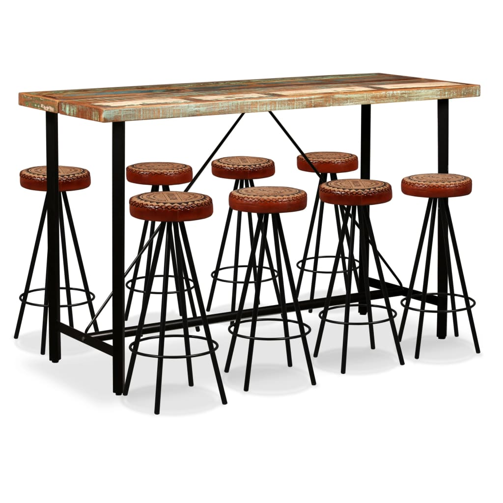 9 Piece Bar Set Solid Reclaimed Wood, Genuine Leather & Canvas