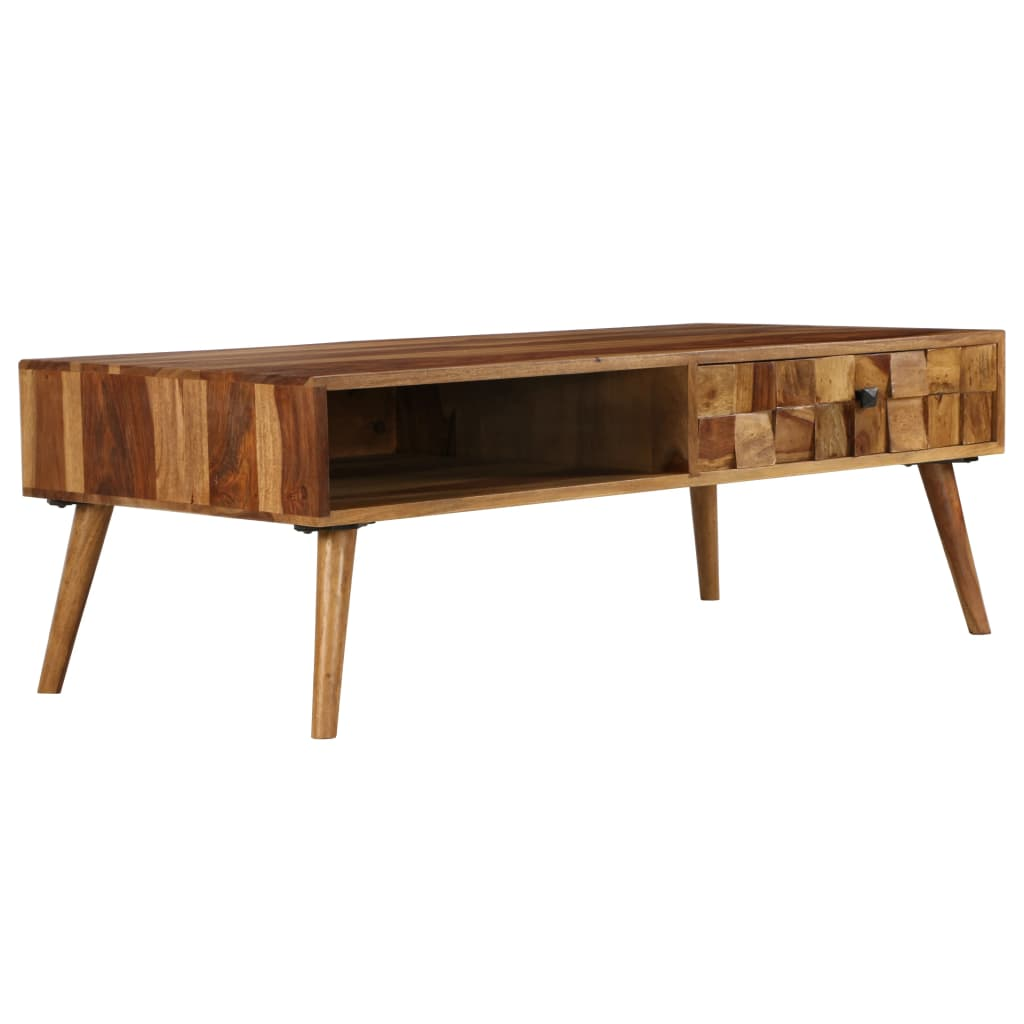 Coffee Table Solid Sheesham Wood with Honey Finish 110x50x37 cm 1