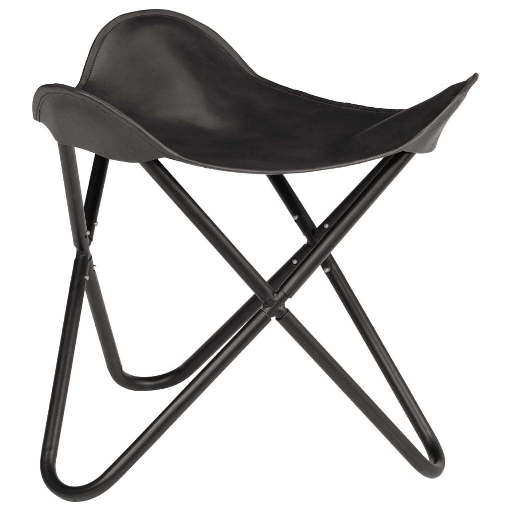 Butterfly Stool Black Real Leather 1