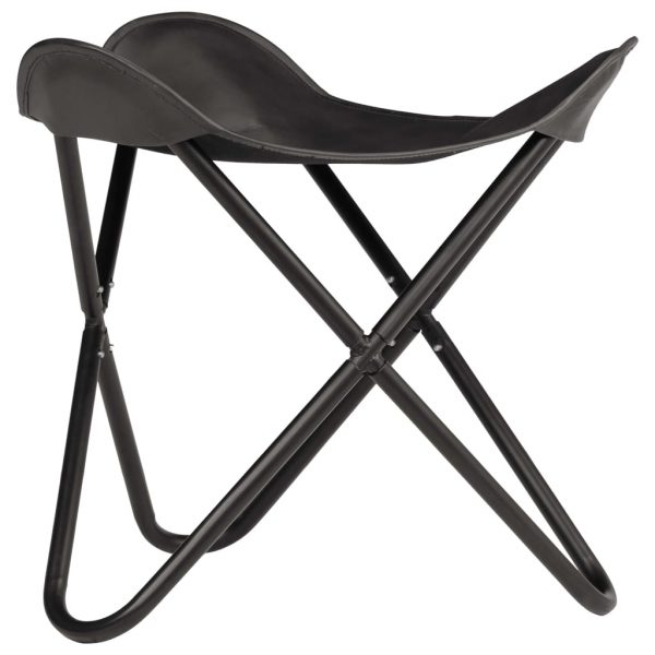 Butterfly Stool Black Real Leather 2